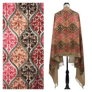 Embroidered Fringed Beige Shawl / Wrap / Scarf